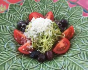 zucchini, noodle, tomato, olive salad, with Ricotta salalta. Recipe by Dorothy Calimeris