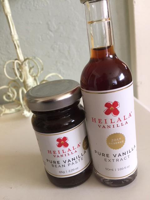 A jar of vanilla paste and bottle of vanilla extract from Heilala Vanilla.