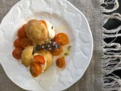 2 Chèvre Puffs on a white plate