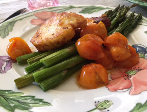 Recipe: Roasted Asparagus and Fried Halloumi with Garlic Studded Tomato Confit
