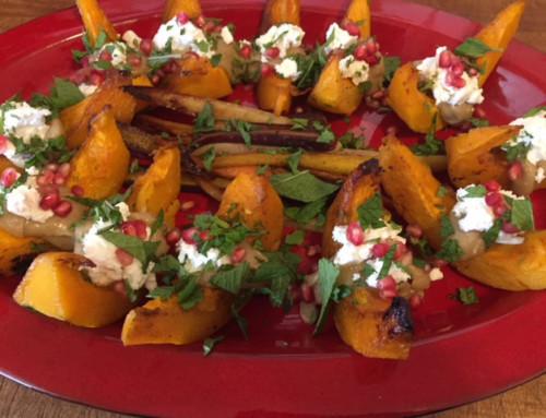 Recipe: Roasted Kabocha Squash with Tahini Sauce, Pomegranate Seeds, and Feta